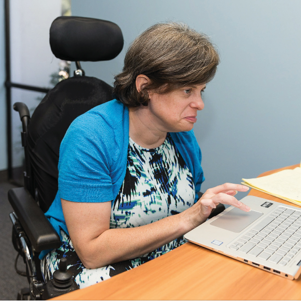 person with disabilities at computer